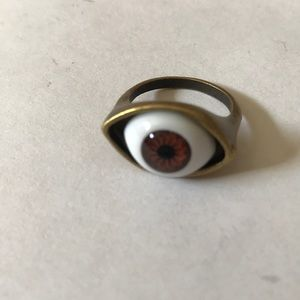 Brass evil eye ring